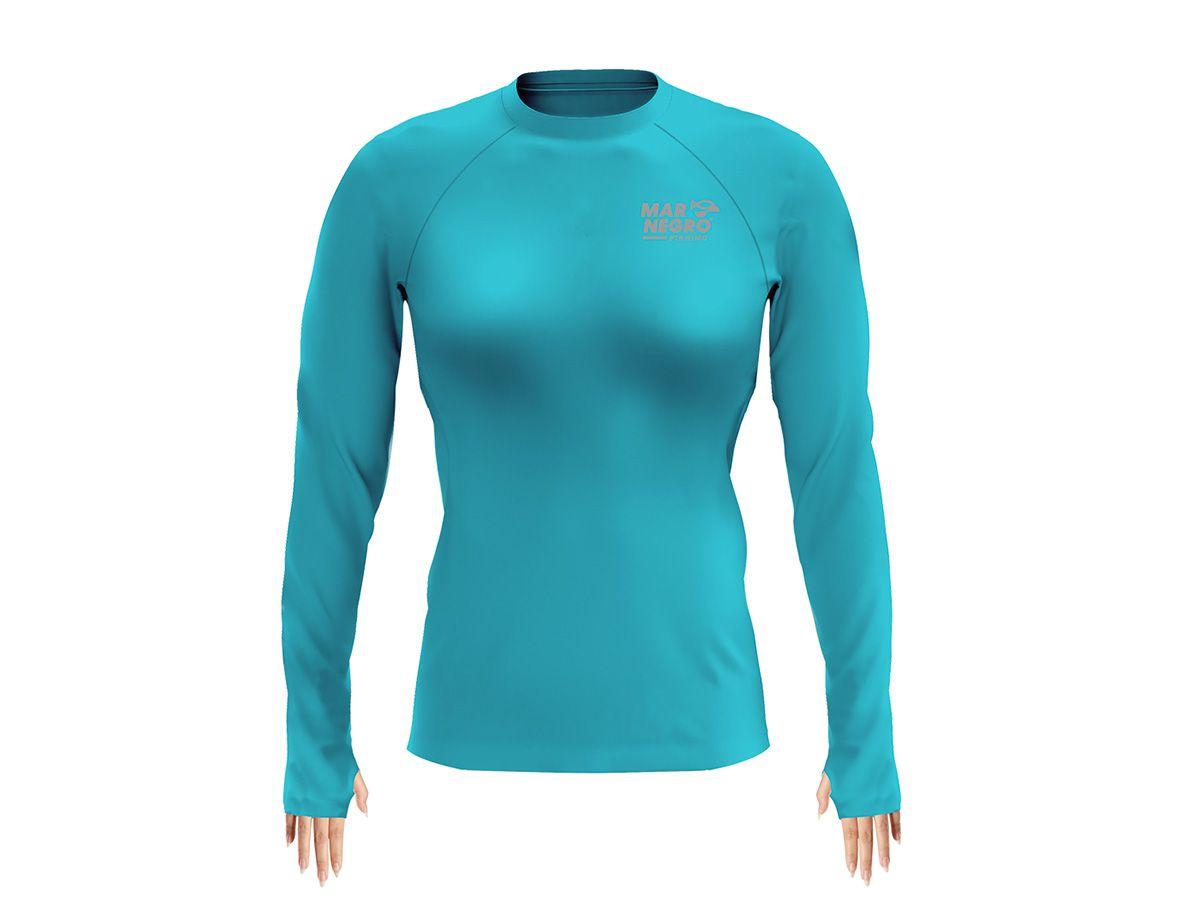 Camiseta Feminina Mar Negro Fishing Poliamida - Azul Piscina  - Comprando & Pescando