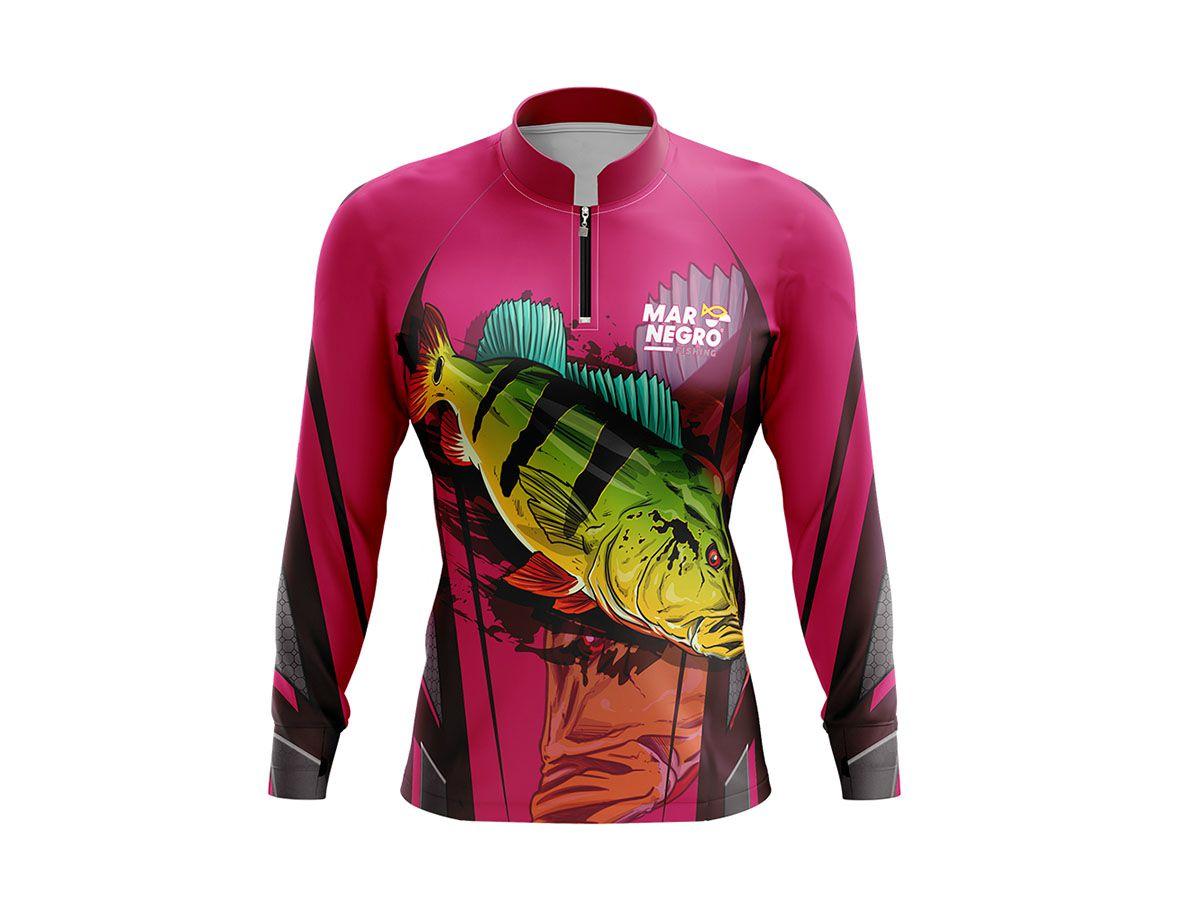 Camiseta Feminina Mar Negro Fishing Tucunaré Rosa  - Comprando & Pescando