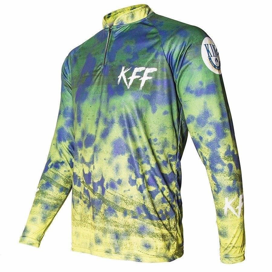 Camiseta King Sublimada Verde/Amarelo/Azul (KFF31)  - Comprando & Pescando