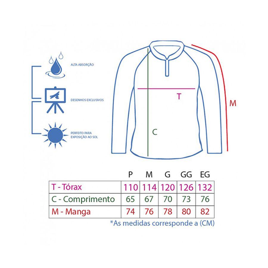 Camiseta King Sublimada Tucunaré Azul (KFF10)  - Comprando & Pescando