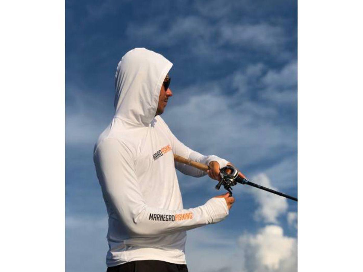 Camiseta Mar Negro Fishing Poliamida c/ Capuz e Luvinha - Branco  - Comprando & Pescando