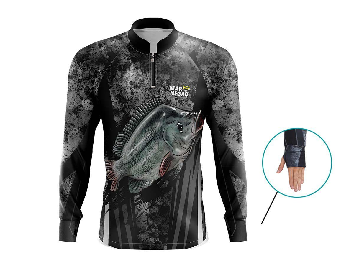 Camiseta Mar Negro Fishing Tilápia  - Comprando & Pescando