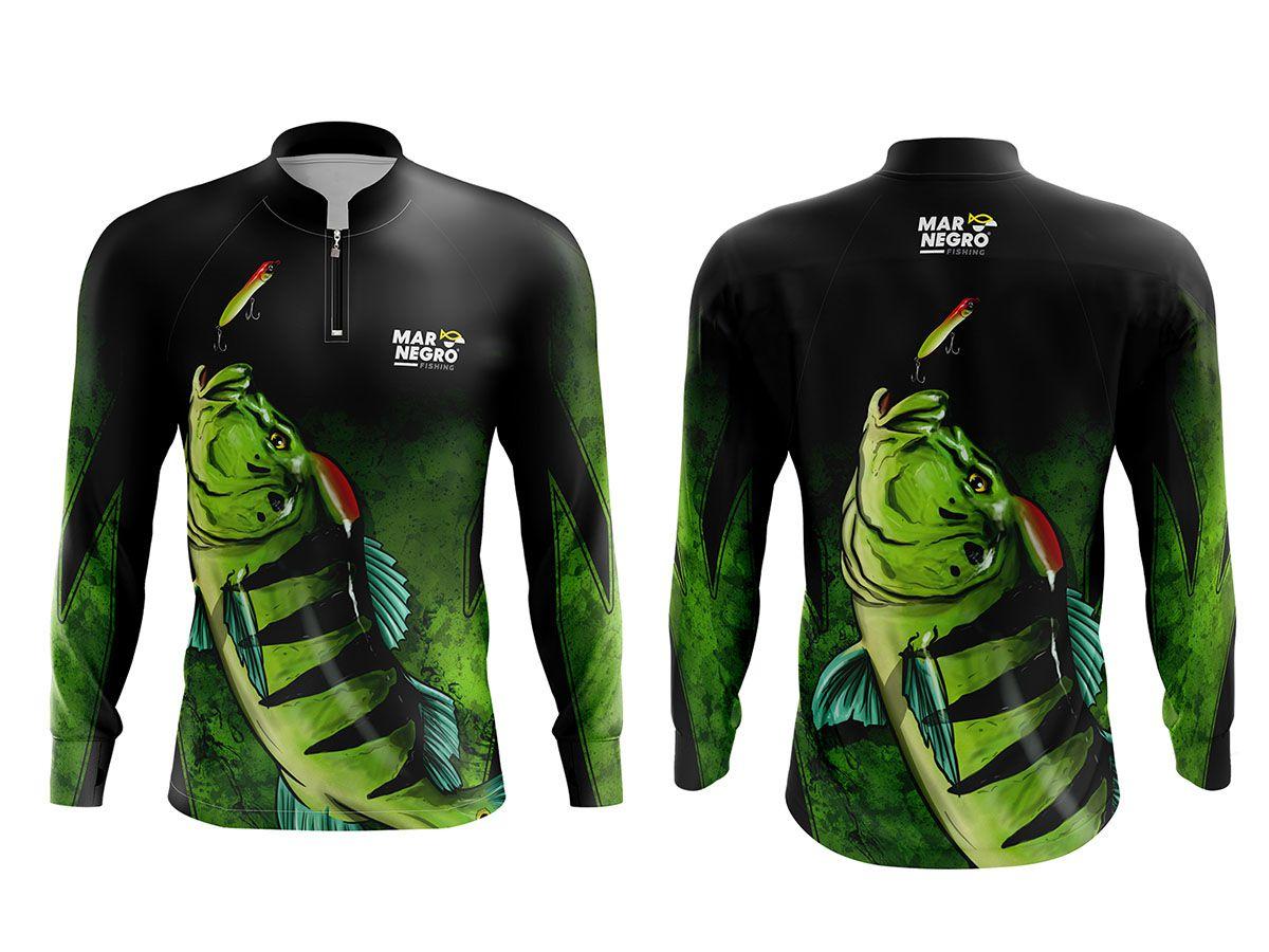 Camiseta Mar Negro Fishing Tucunaré Azul  - Comprando & Pescando