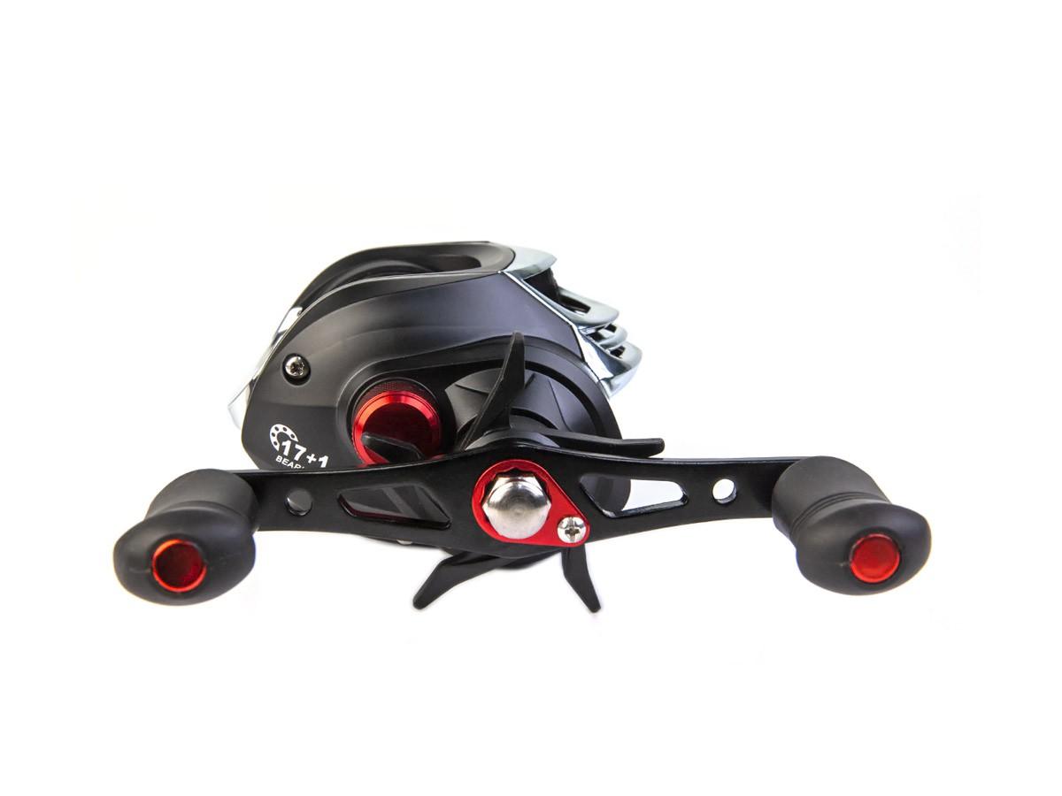 Carretilha de Pesca P200 CMIK Preta com Carretel Alumínio Vermelho (80419)  - Comprando & Pescando