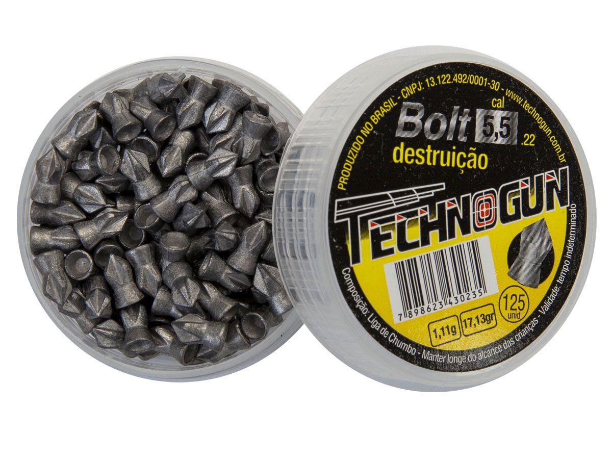 Chumbinho Technogun Bolt 5.5mm (Pote c/ 125 un)  - Comprando & Pescando