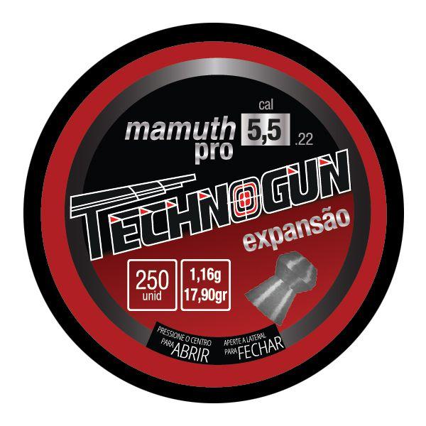 Chumbinho Technogun Mamuth Pro 5.5mm (Lata c/ 250 un)  - Comprando & Pescando