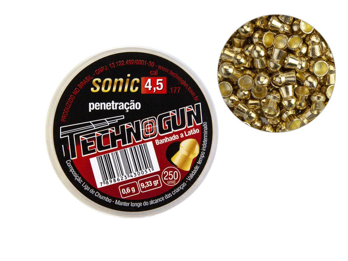 Chumbinho Technogun Sonic Gold 4.5mm (Pote c/ 250 un)  - Comprando & Pescando