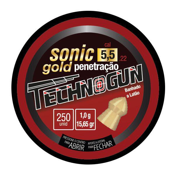Chumbinho Technogun Sonic Gold 5.5mm (Lata c/ 250 un)  - Comprando & Pescando