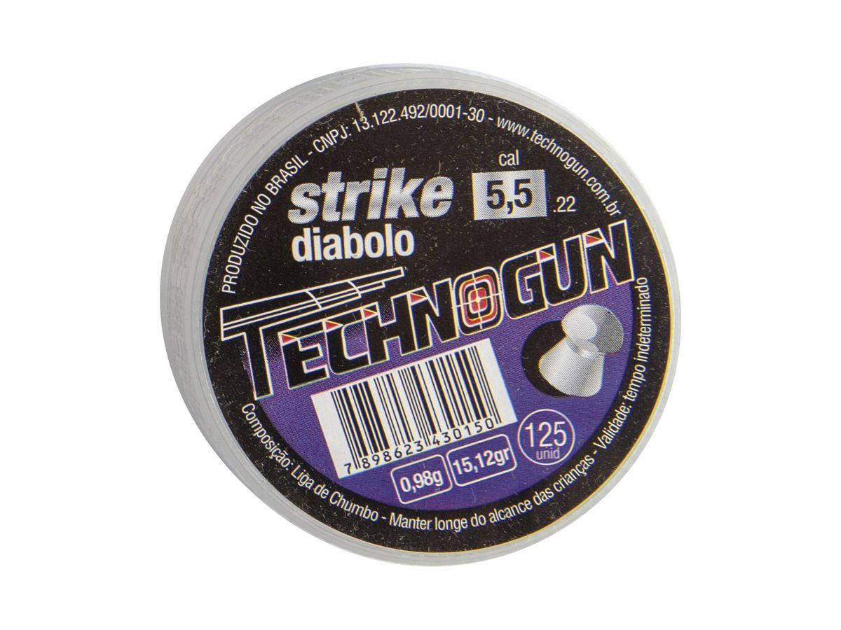 Chumbinho Technogun Strike Diabolo 5.5mm (Pote c/ 125 un)  - Comprando & Pescando