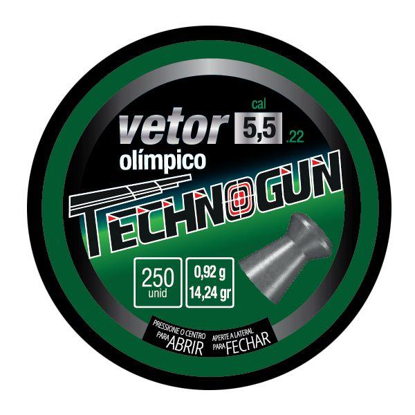 Chumbinho Technogun Vetor Olímpico 5.5mm (Lata c/ 250 un)  - Comprando & Pescando