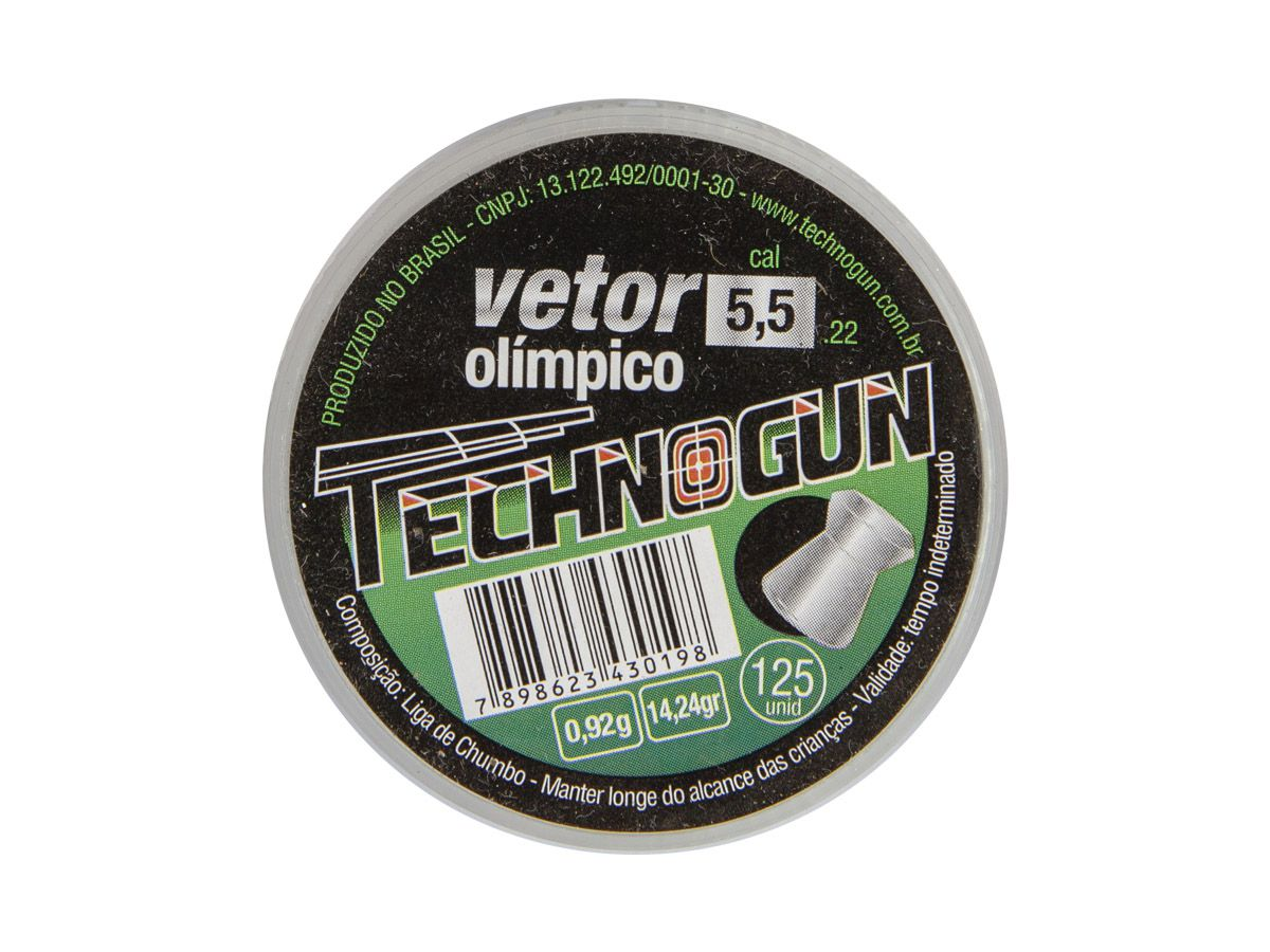 Chumbinho Technogun Vetor Olímpico 5.5mm (Pote c/ 125 un)  - Comprando & Pescando