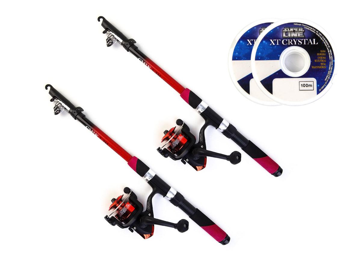 Conjunto 2 Varas Telescópica 20lbs - 1,70m + 2 Molinete HT 200 com Linha  - Comprando & Pescando
