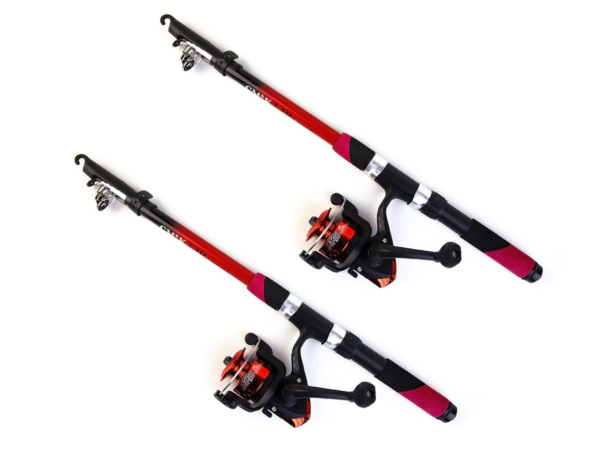 Conjunto 2 Varas Telescópica 20lbs - 1,70mts com 2 Molinete HT 200  - Comprando & Pescando