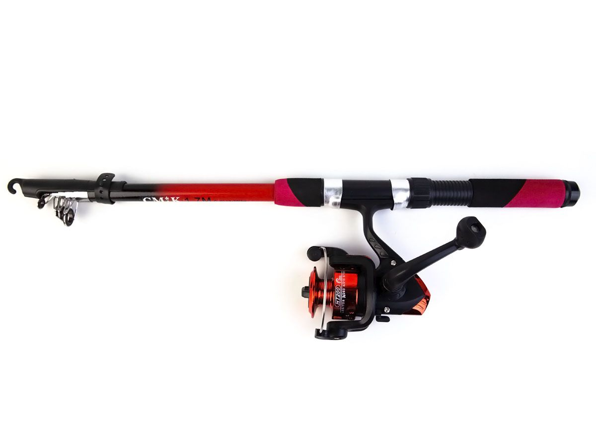 Conjunto Vara Telescópica 20lbs - 1,70mts com Molinete HT 200  - Comprando & Pescando