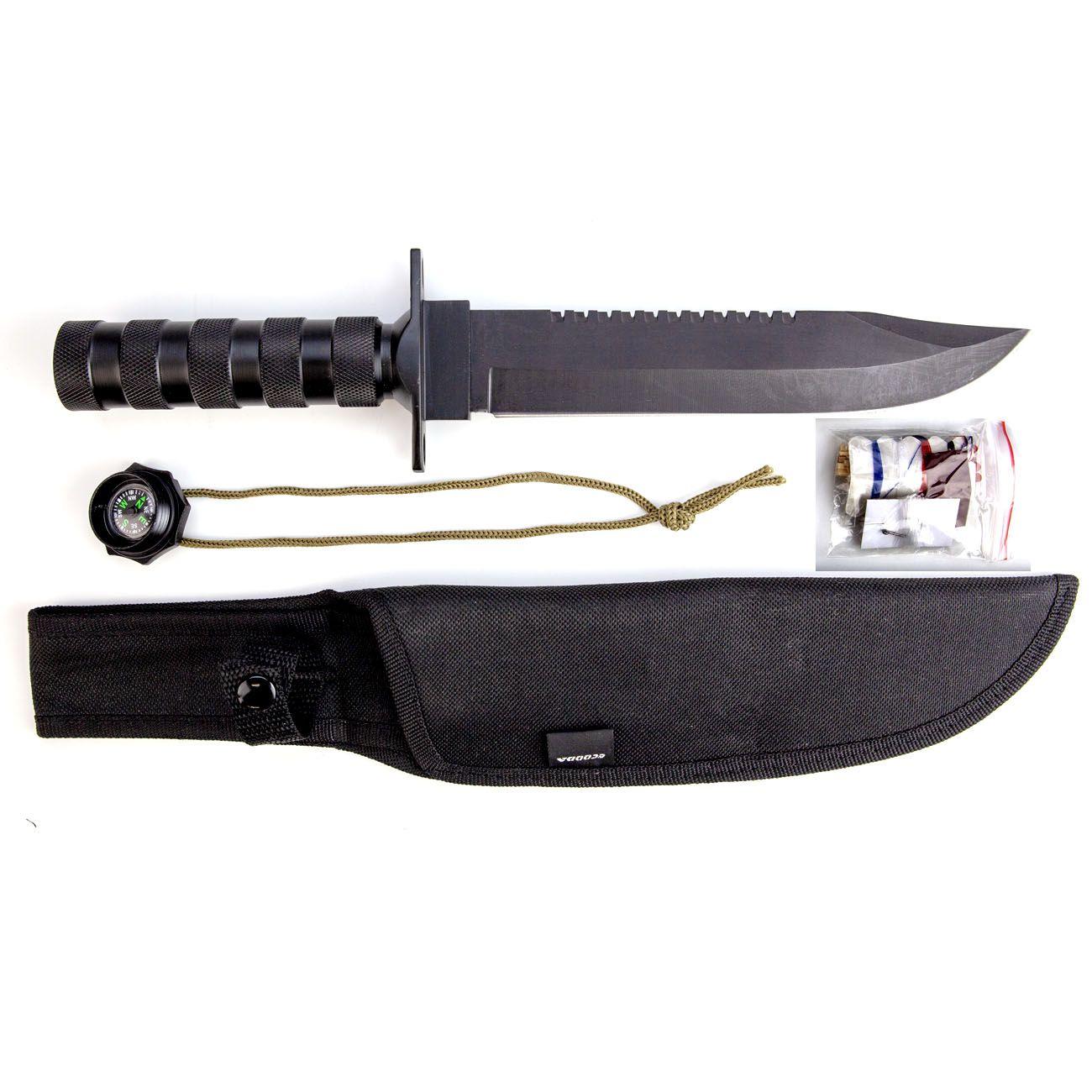 Faca Tática Sobrevivência ML019 (Preta ou Prata)  - Comprando & Pescando