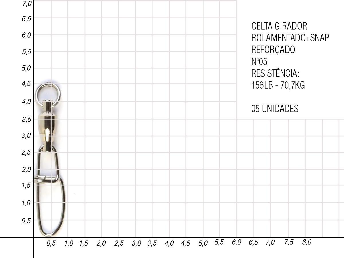 Girador Celta Rolamentado com Snap reforçado - Nickel CT1011  - Comprando & Pescando