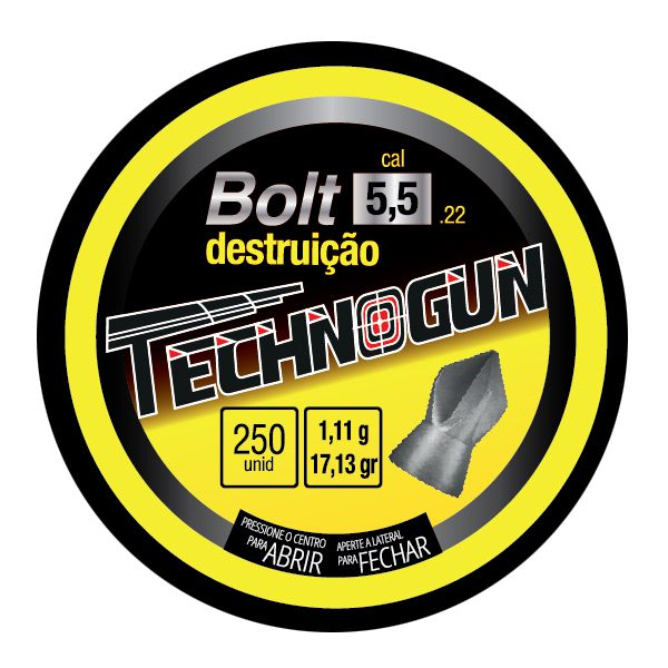 Kit 6 Lata C/ 250 Chumbinho Technogun 5.5mm (Total 1500 chumbos)  - Comprando & Pescando