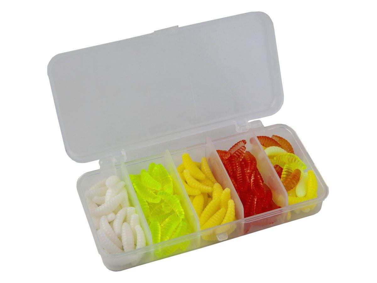 Kit com 100 Iscas Minhocas + 100 Larvas Softs com estojo  - Comprando & Pescando