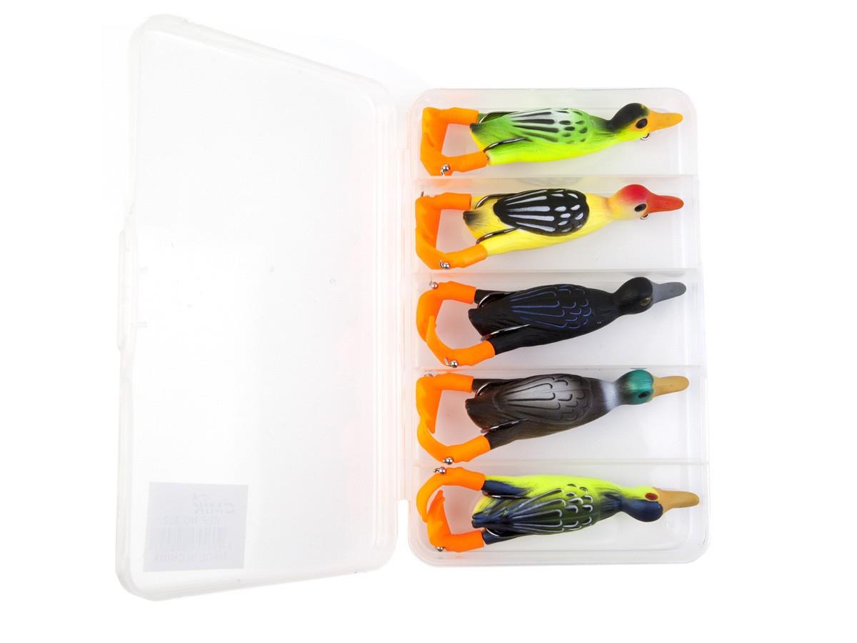 Kit com 5 Iscas Artificiais Duck (Pato) Hélice + Estojo  - Comprando & Pescando