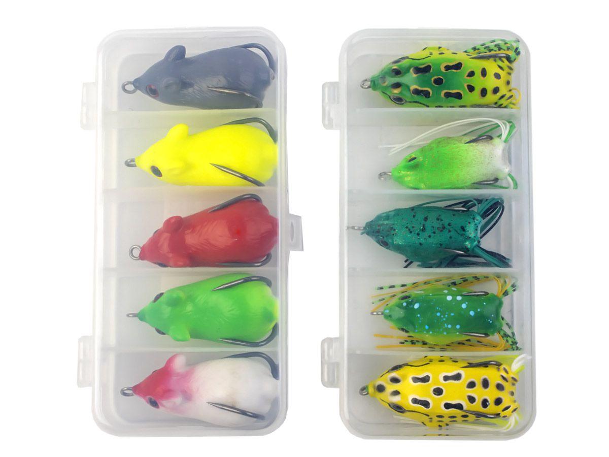 Kit com 5 Iscas Artificiais Frog e 5 Iscas Artificiais Rato + 2 Estojos Pequenos  - Comprando & Pescando