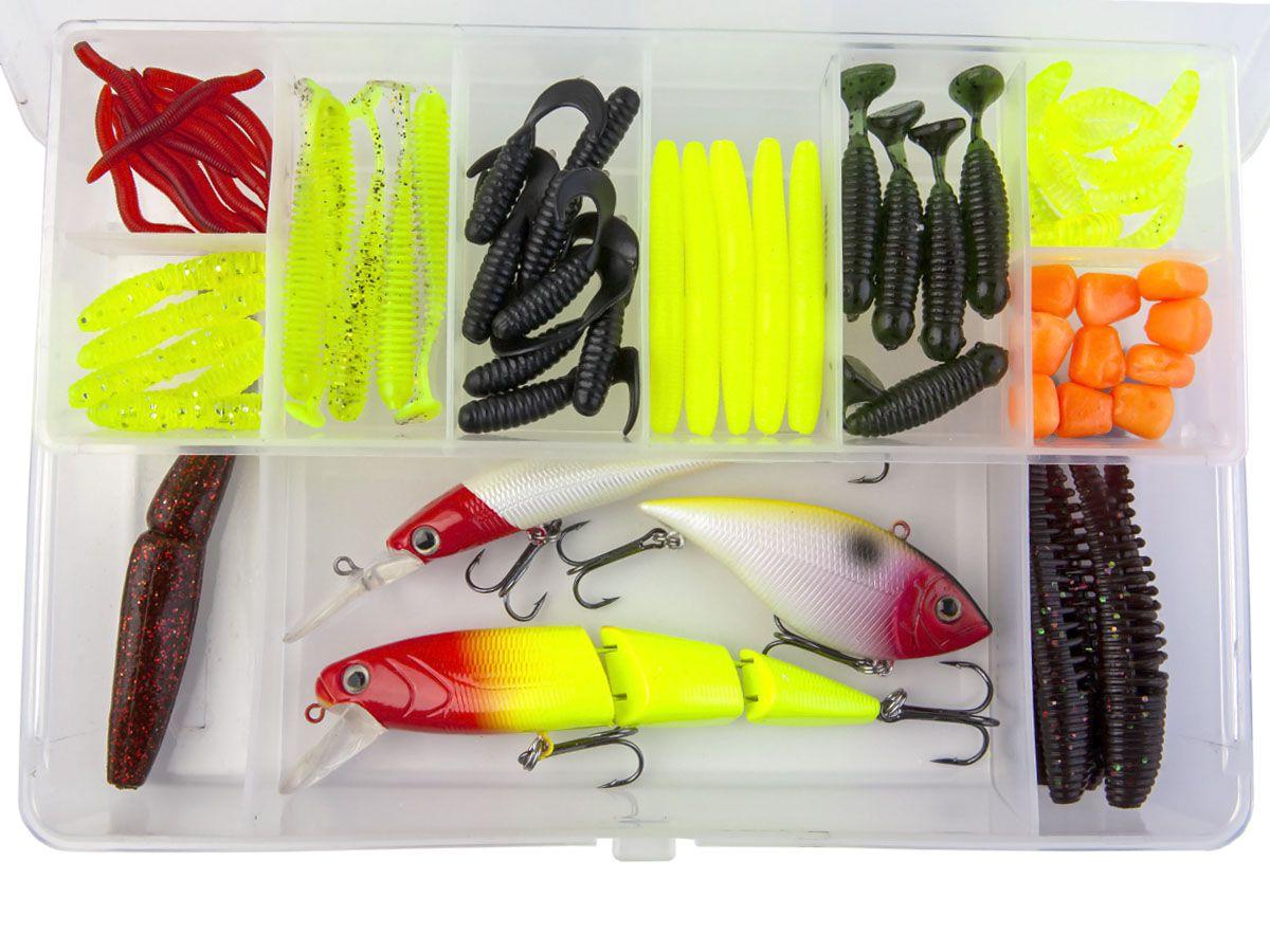 Kit com 60 Iscas Artificiais + Estojo  - Comprando & Pescando