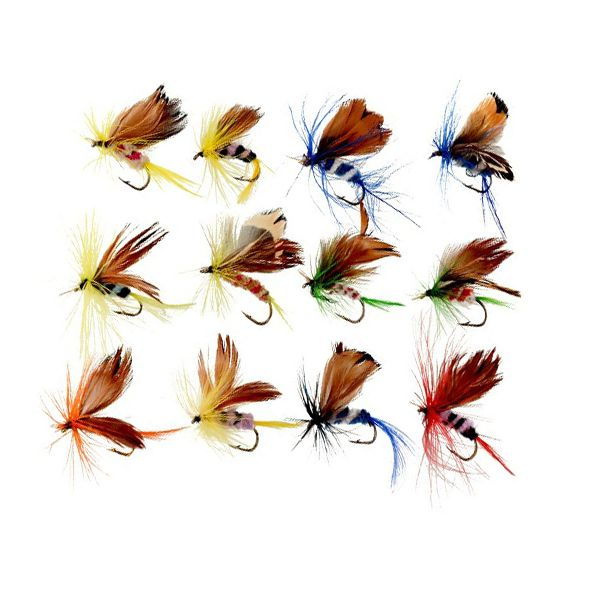 Kit Iscas Artificiais de Fly Fishing (12 unidades)  - Comprando & Pescando
