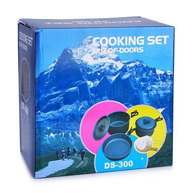 Kit Panelas Camping Outdoor DS-300  - Comprando & Pescando