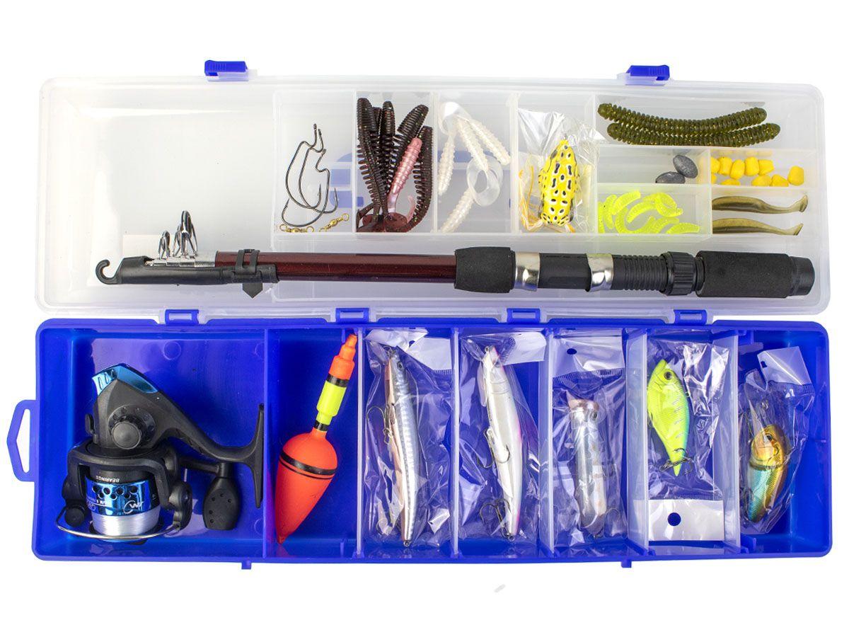 Kit Pesca Vara Molinete e Acessórios com Estojo  - Comprando & Pescando