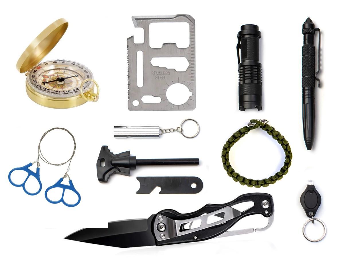 Kit Sobrevivência De Emergência Com Bolsa 12-em-1 CP02  - Comprando & Pescando