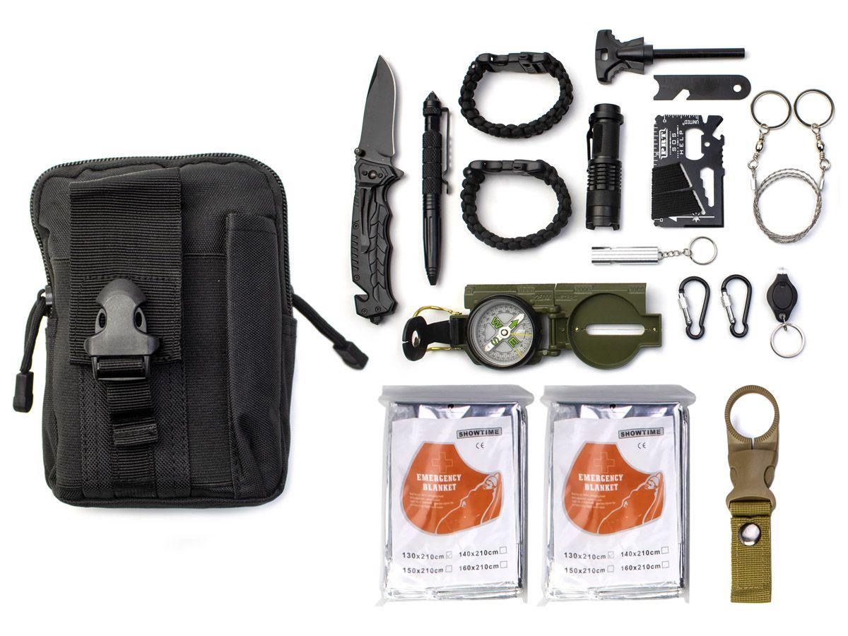 Kit Sobrevivência de Emergência com Bolsa TZ-3 (17 Itens)  - Comprando & Pescando