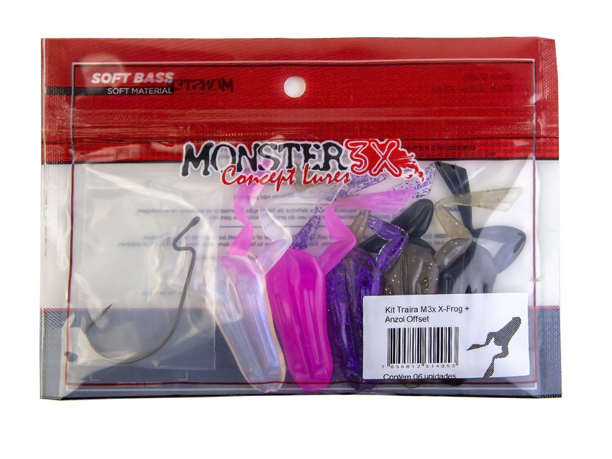 Kit Traira X-Frog + Anzol Offset Monster 3X  - Comprando & Pescando