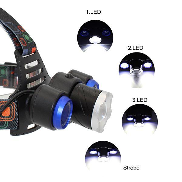 Lanterna de Cabeça 3 Leds Recarregável Ref-117  - Comprando & Pescando