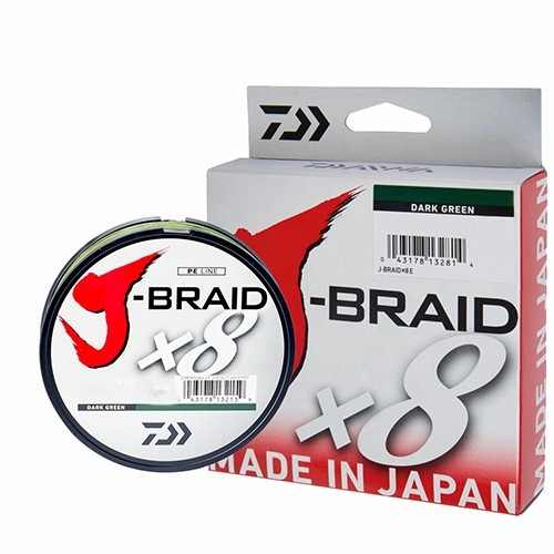 Linha Multifilamento Daiwa J-Braid X8 Dark Green (150mt)  - Comprando & Pescando