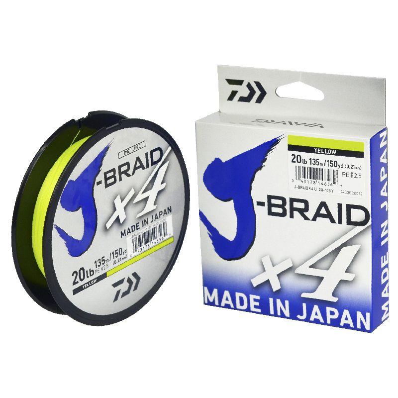 Linha Multifilamento Daiwa J-Braid X4 Yellow (135mt)  - Comprando & Pescando