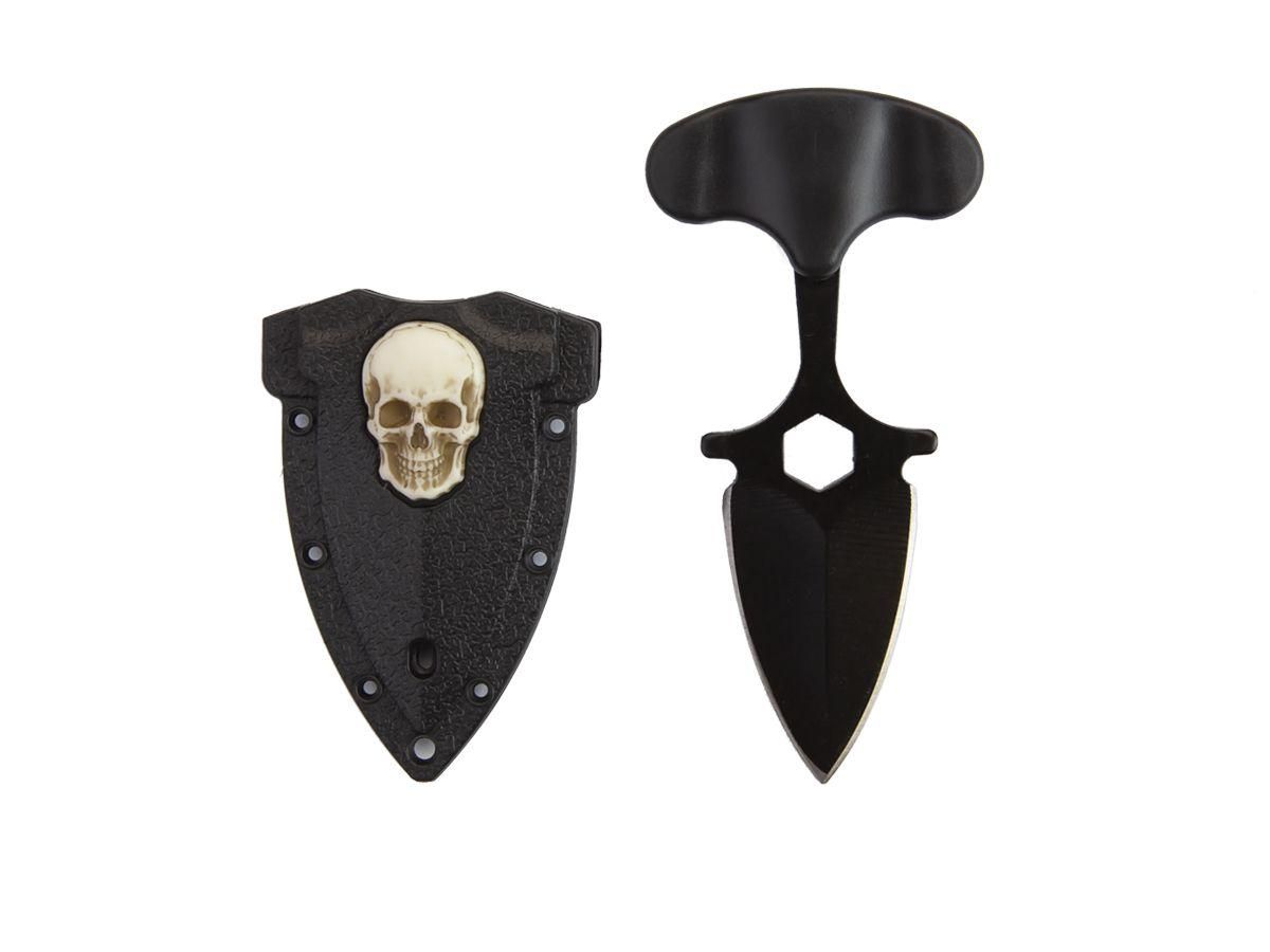 Mini Faca Push T Dagger DS c/ Caveira na Bainha  - Comprando & Pescando