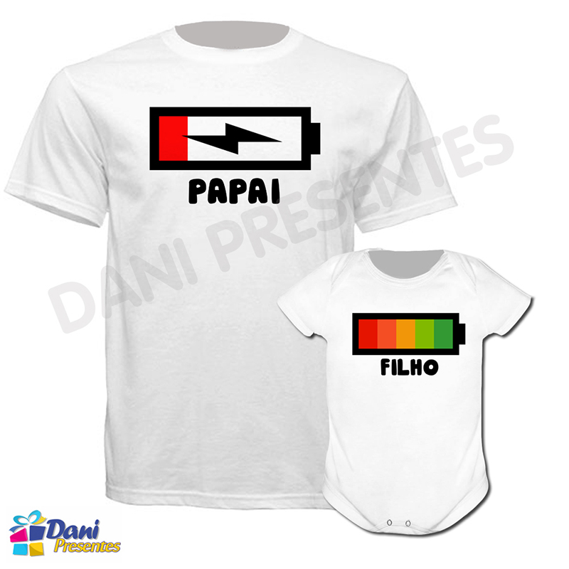 Camiseta Bateria Vazia / Bateria Cheia - 100% algodão