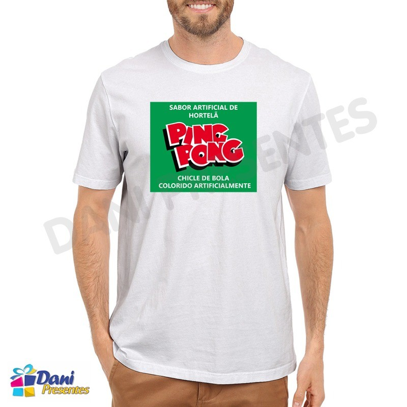 Camiseta Chiclete Ping Pong Hortelã - Chicle de Bola Ping Pong