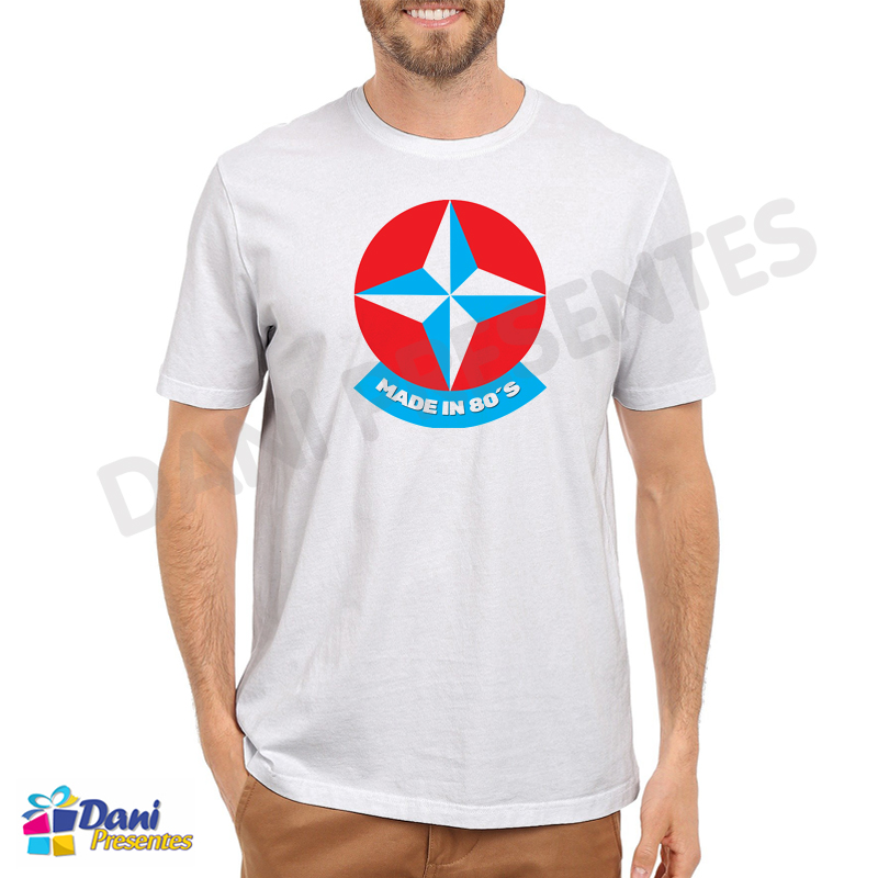 Camiseta Estrela Made in 80´s - Brinquedos Antigos