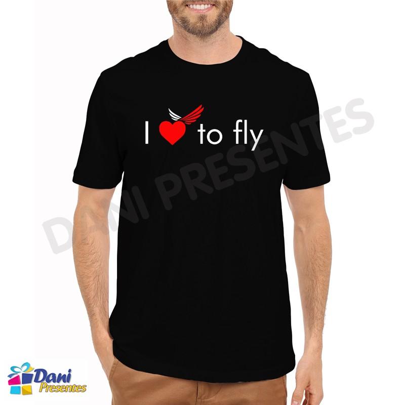 Camiseta I Love To Fly - Aviação - Preta