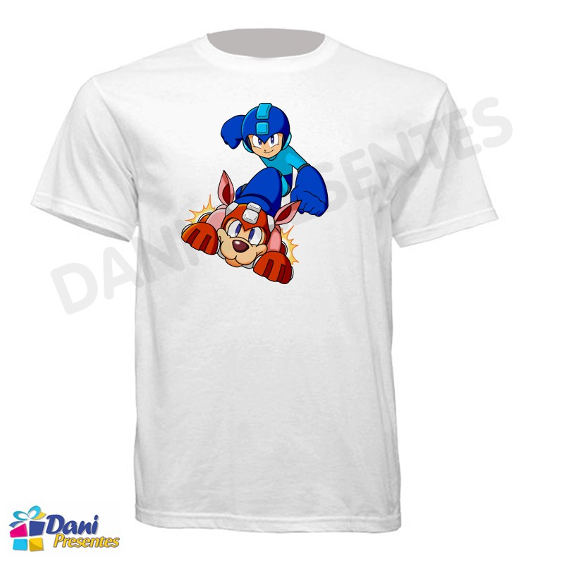 Camiseta Mega Man e Dog - Nintendo - Retrô Game