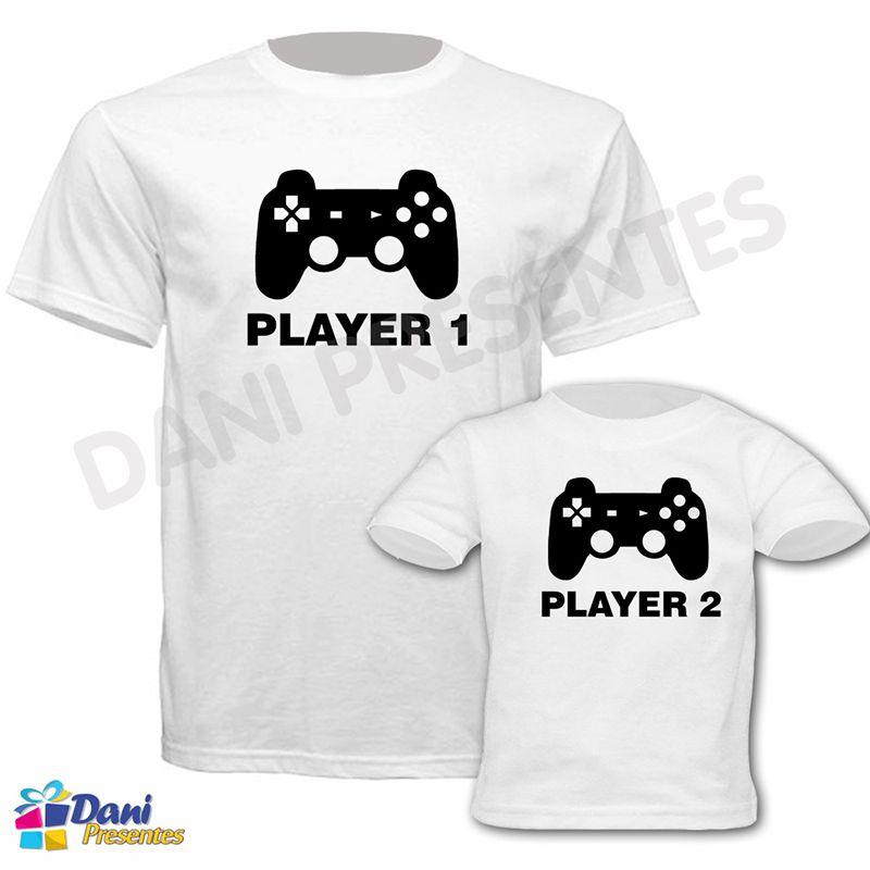 Camiseta Player 1 e 2 - 100% algodão