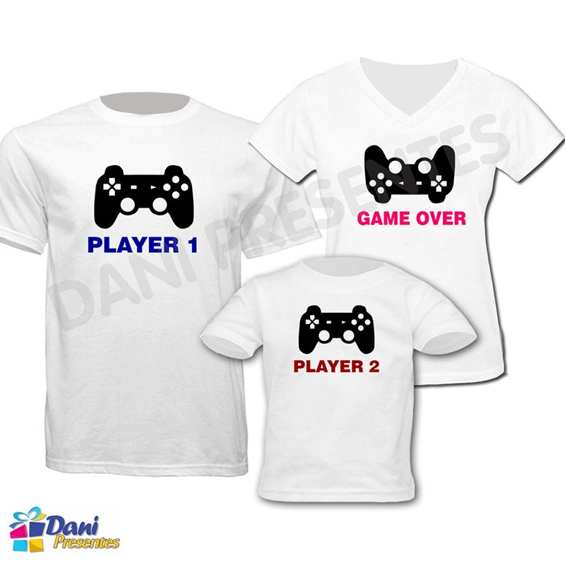 Camiseta Player 1 - Player 2 - Game Over - 100% algodão
