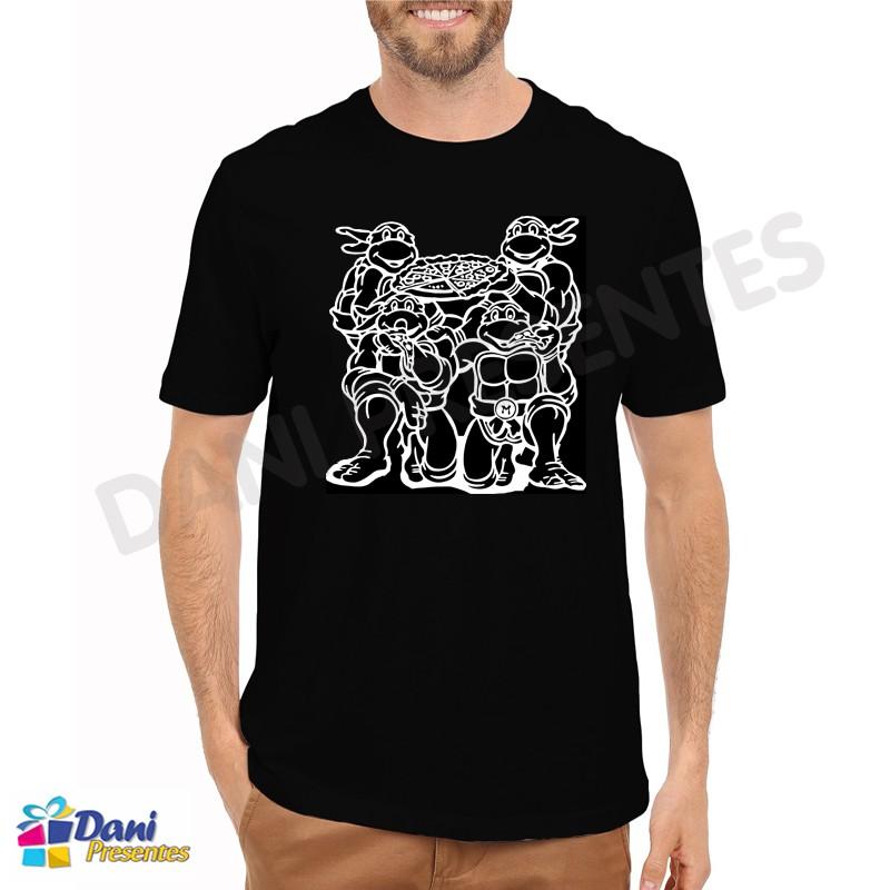 Camiseta Tartarugas Ninja Pizza - Preta