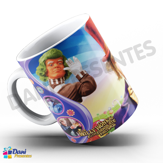 Caneca A Fantástica Fábrica de Chocolate e Willy Wonka