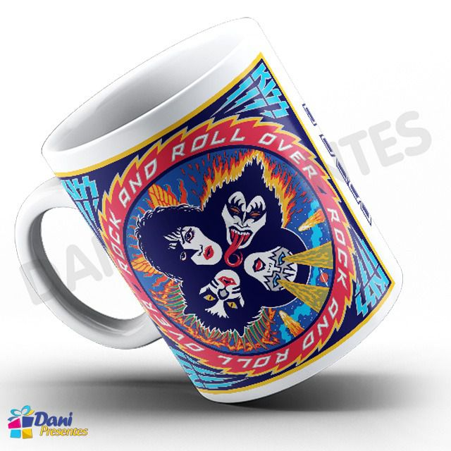 Caneca Banda Kiss - Capa do Disco Rock and Roll Over