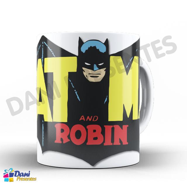 Caneca Batman e Robin Desenho Retrô