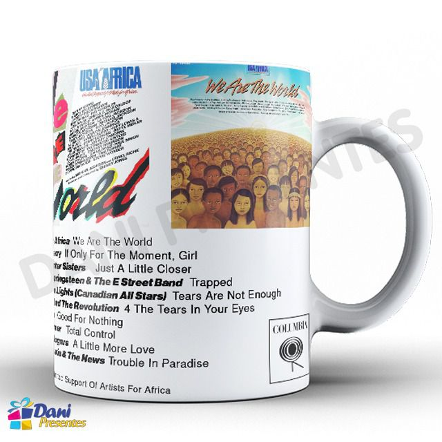 Caneca Capa do Disco USA for Africa - We Are The World