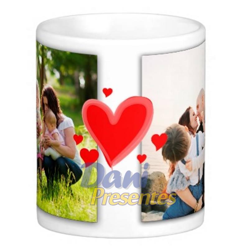 Caneca Personalizada com Foto - Corações