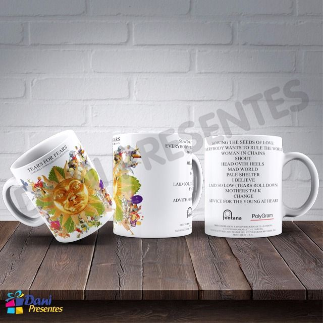 Caneca Tears For Fears - Capa do Disco Tears Roll Down (Greatest Hits 82-92)