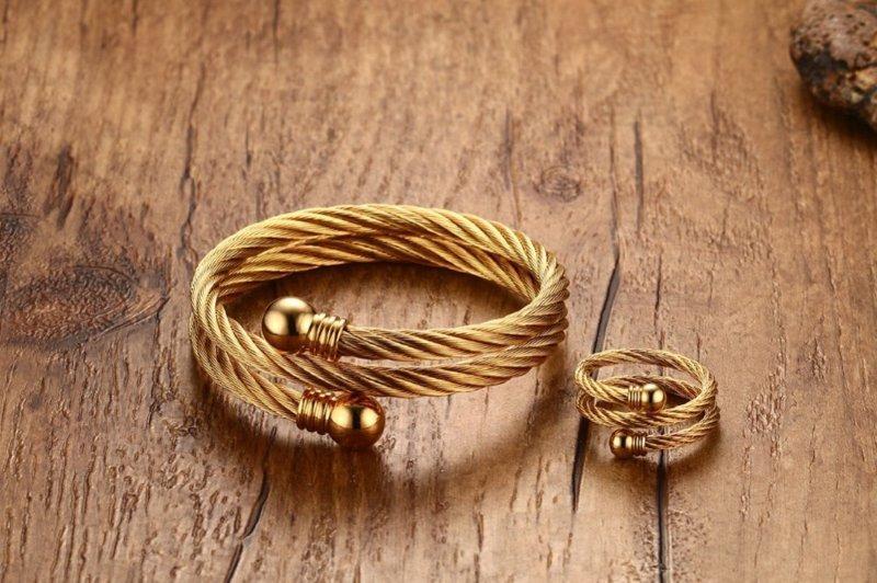 1928537135b Conjunto de Pulseira e Anel Espiral Ajustável em Aço Inoxidável - Dourado -  Ekompras - Moda ...